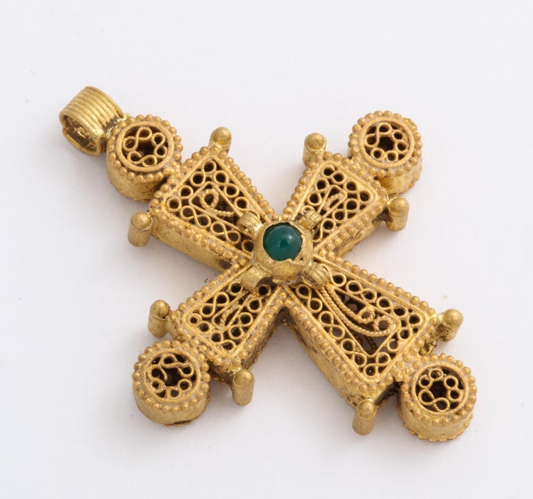 Cabochon Ancient Byzantine Gold Cross with Emerald For Sale