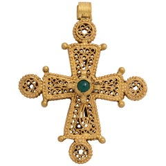Ancient Byzantine Gold Cross with Emerald