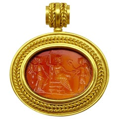 Ancient Carnelian Intaglio Gold Pendant Depicting Fortuna, Minerva and Victory