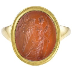 Ancient Carnelian Intaglio of Nike, the Greek Goddess of Victory