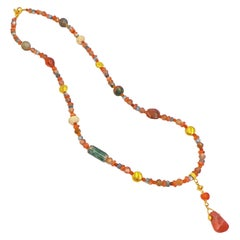 Ancient Carnelian, Multi-Gemstone, and 22 Karat Gold Beaded Pendant Necklace