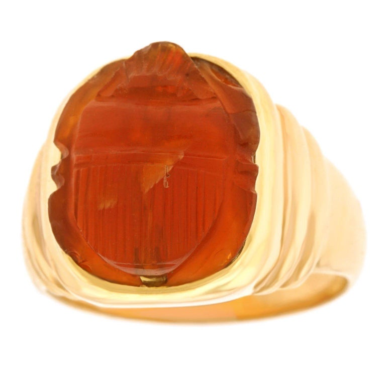 Ancient carnelian scarab in a 1950s gold ring, offered by Lawrence Jeffrey