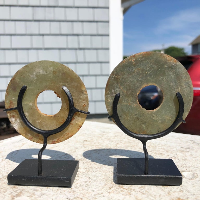 Ancient Chinese Handmade Jade Bi Group Two Genuine Artifacts from 2000 BC In Good Condition For Sale In Shelburne, VT