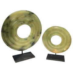Ancient Chinese Handmade Jade Bi Group Two Genuine Artifacts from 2000 BC