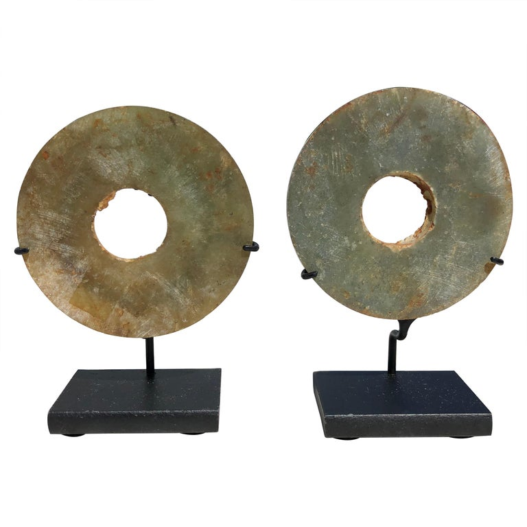 Ancient Chinese Handmade Jade Bi Group Two Genuine Artifacts from 2000 BC For Sale
