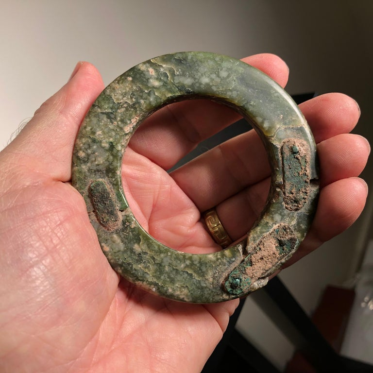 Ancient Chinese Heavenly Jade Bracelet Unusual with Ancient Copper Repair For Sale 7