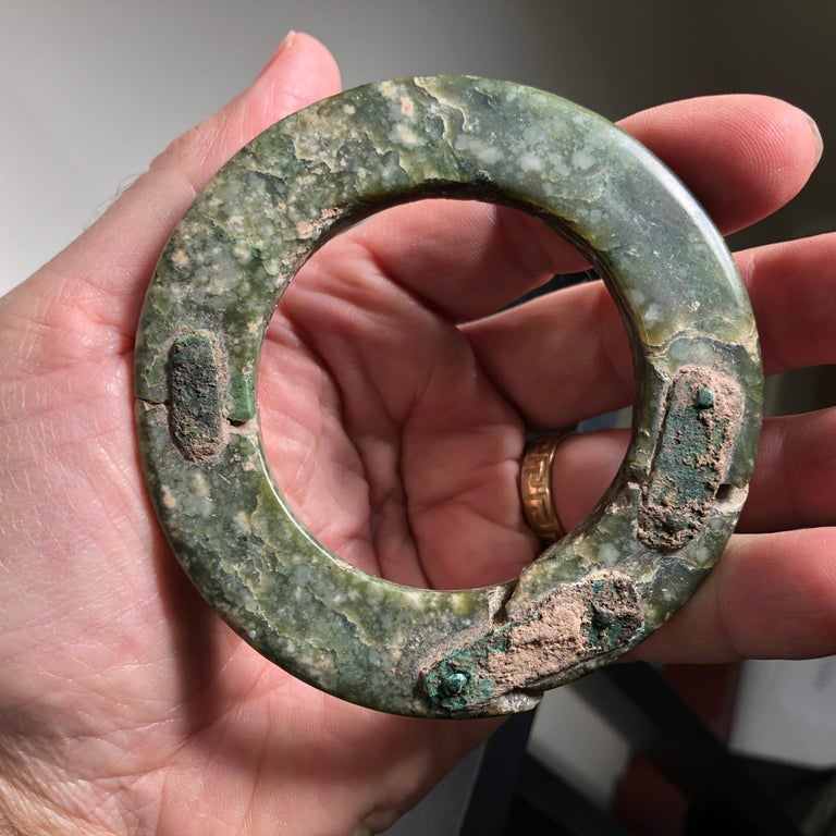 Ancient Chinese Heavenly Jade Bracelet Unusual with Ancient Copper Repair For Sale 8