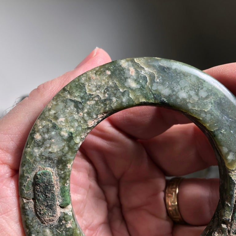 Ancient Chinese Heavenly Jade Bracelet Unusual with Ancient Copper Repair For Sale 9