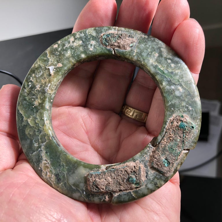 Ancient Chinese Heavenly Jade Bracelet Unusual with Ancient Copper Repair For Sale 10