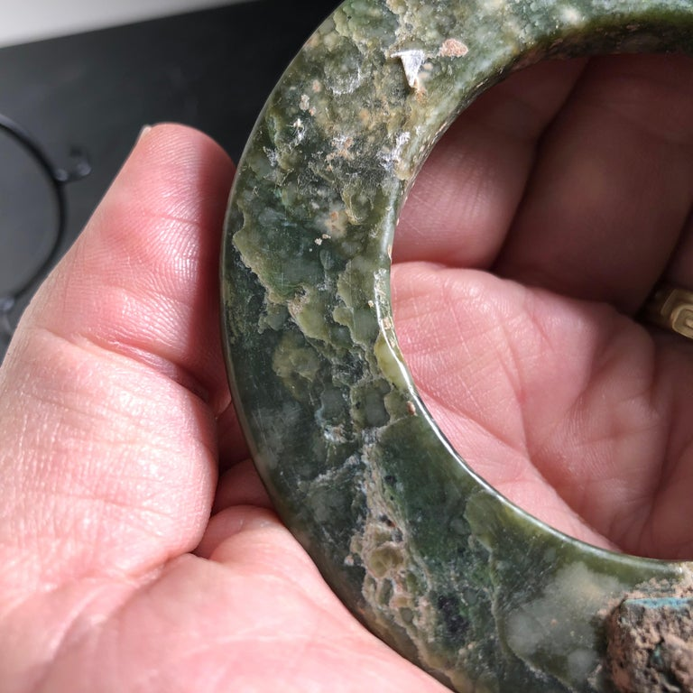 Ancient Chinese Heavenly Jade Bracelet Unusual with Ancient Copper Repair For Sale 11