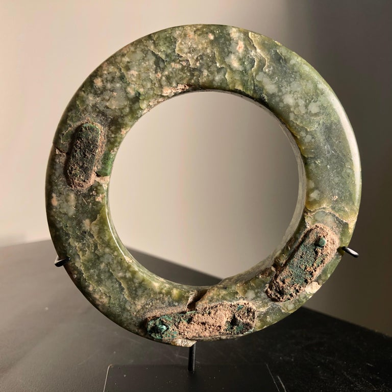 Hand-Crafted Ancient Chinese Heavenly Jade Bracelet Unusual with Ancient Copper Repair For Sale