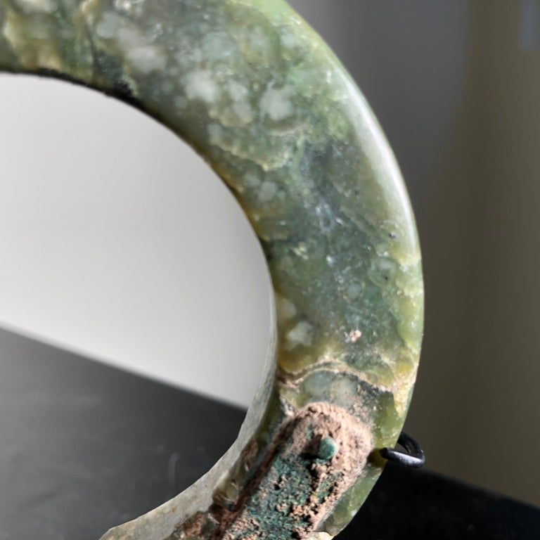 Ancient Chinese Heavenly Jade Bracelet Unusual with Ancient Copper Repair For Sale 1