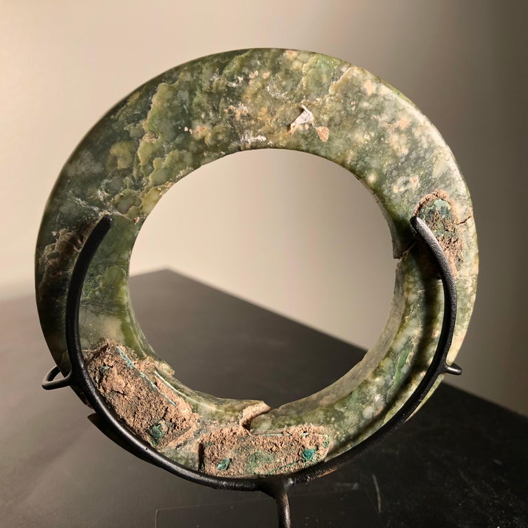 Ancient Chinese Heavenly Jade Bracelet Unusual with Ancient Copper Repair For Sale 4