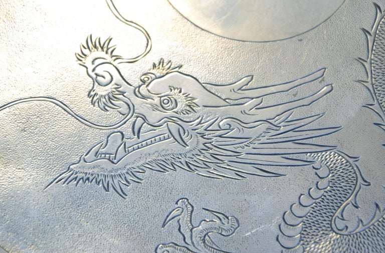 Ancient Chinese Silver Tray, 19th Century In Good Condition For Sale In Roma, IT