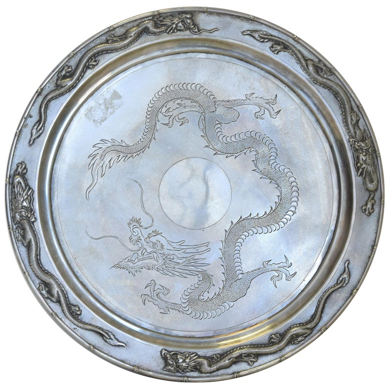 Ancient Chinese Silver Tray, 19th Century For Sale