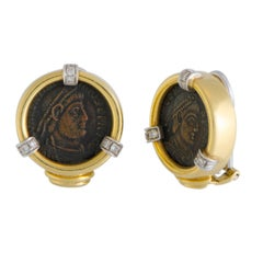Ancient Coin and Diamond Yellow and White Gold Clip-On Earrings