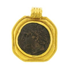 Ancient Coin Artifact Mounted in 22 Karat Gold Pendant