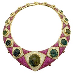 Ancient Coin, Diamond, and Rubelite Yellow Gold Statement Necklace