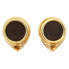 Ancient Coin Earrings in 18k