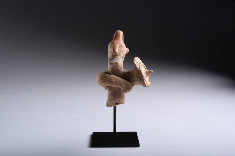 A terracotta figure of a warrior from Cyprus, dating to the Cypro-Archaic period, circa 750–600 BC.