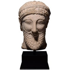 Ancient Cypriot Limestone Archaic Head of a King, 5th Century BC