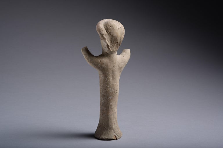 European Ancient Cypriot Terracotta Goddess, 7th Century BC For Sale