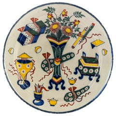 Ancient Dutch Porcelain Plate, in Polychrome Dutch Delfware, Late 18th Century