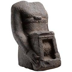 Ancient Egyptian Basalt Temple Bearer Naophorous Statue, 664 BC