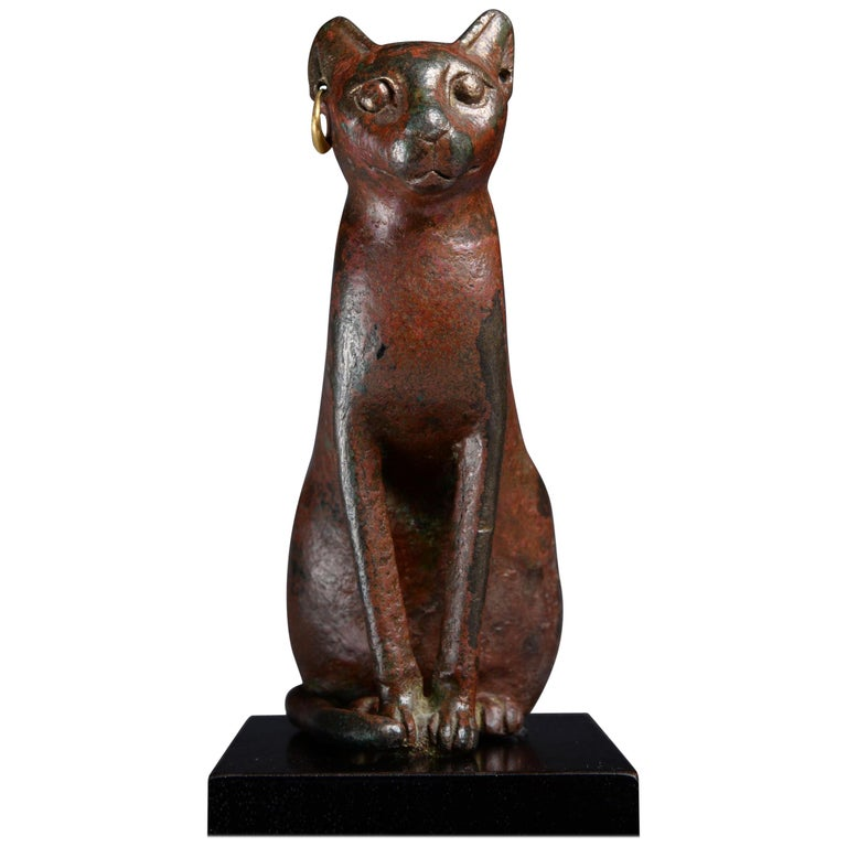 Ancient Egyptian Bronze Cat, 1075 BC For Sale