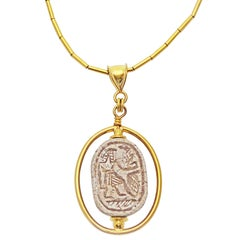 Ancient Egyptian Carved Scarab Gold Pendant Necklace