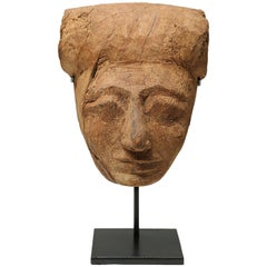 Ancient Egyptian Cedar Wood Sarcophagus Mummy Mask