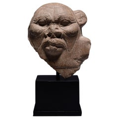 Ancient Egyptian Stone Bust of Bes, 332 BC