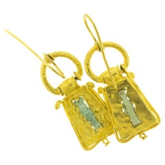 Ancient Egyptian Stone Figure Artifact 22 Karat Gold Earrings