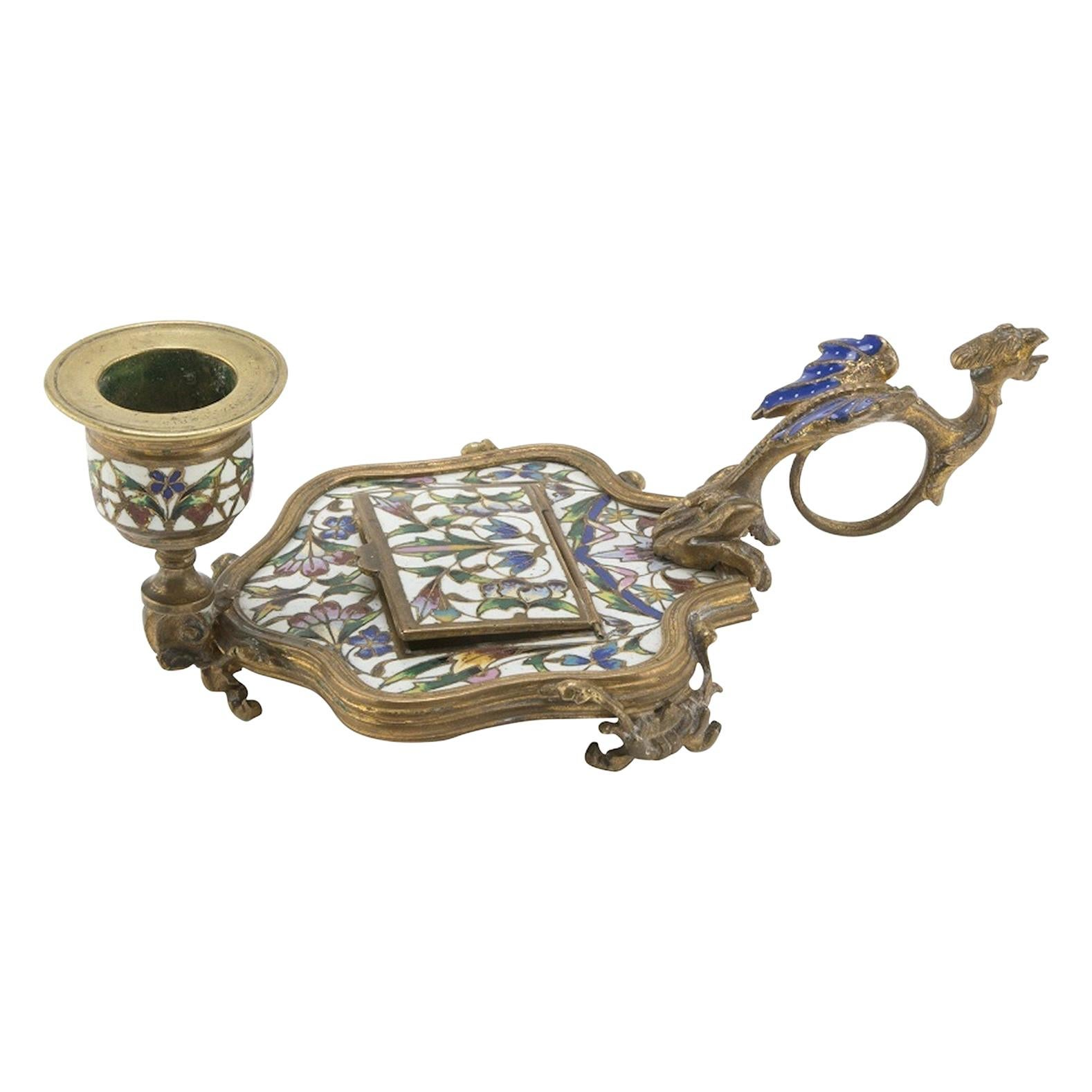 Ancient Enamel Candlestick by Alphonse Giroux, France, Late 19th Century