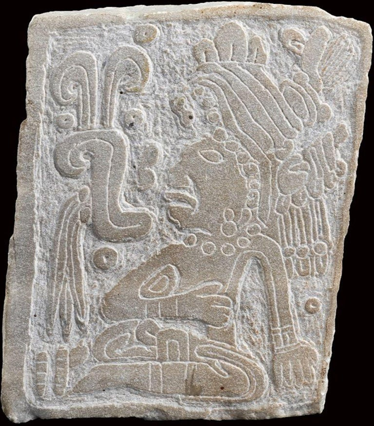 Engraved stone slab is an original Olmecs-style artifacts.  Original stone.  Good conditions.  Provenance: Private Collection Italy  Beautiful and ancient manufact representing an engraved figure with stylized motifs on the surface. The work