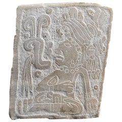 Ancient Engraven Stone Slab Olmec-Style, Mexico