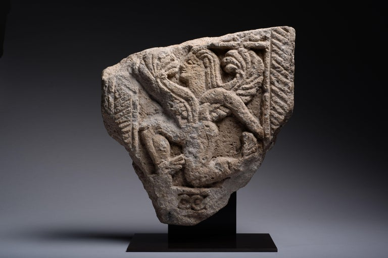 European Ancient Etruscan Nenfro Relief of a Winged God, 600 BC For Sale