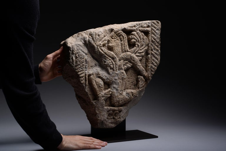 Ancient Etruscan Nenfro Relief of a Winged God, 600 BC In Excellent Condition For Sale In London, GB
