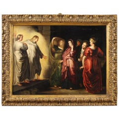 Ancient Flemish Religious Painting Holy Women at the Sepulchre, 17th Century