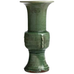Ancient Glazed Longquan Céladon Vase, Ming Dinasty, China