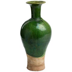 Ancient Glazed Warm Green Vase Bottle, Liao Dynasty China, 10th-12th Century