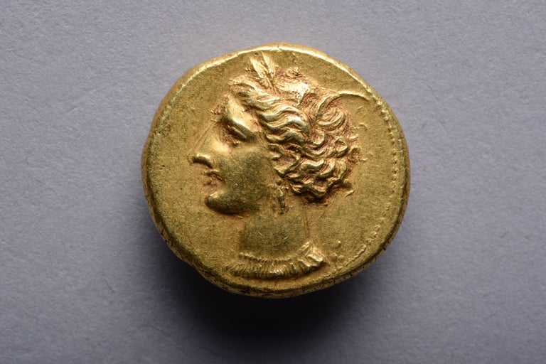 Classical Greek Ancient Gold Punic Coin from Carthage, 310 BC For Sale