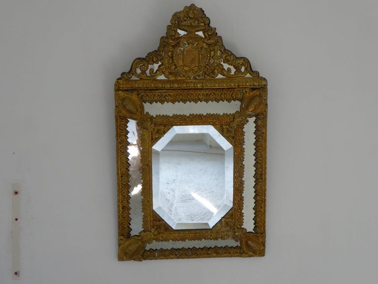 French Ancient Golden Brass Mirror For Sale