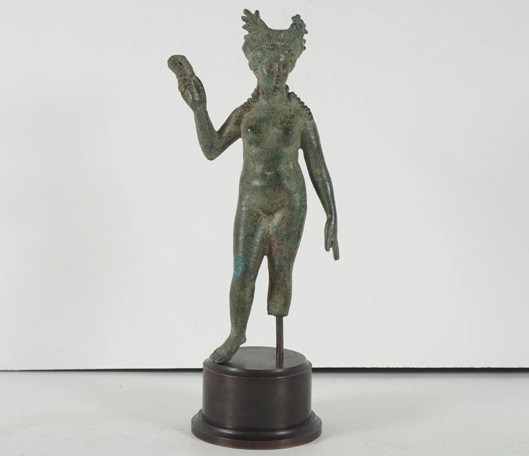 Ancient Grecco-Roman Bronze Figure of Isis/ Aphrodite from Second Century B C In Good Condition For Sale In Hudson, NY