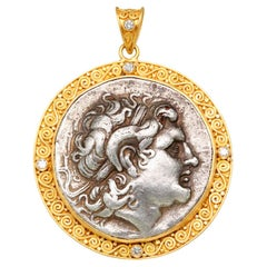 Ancient Greek 3rd Century BC Alexander the Great Coin Diamonds 22K Gold Pendant
