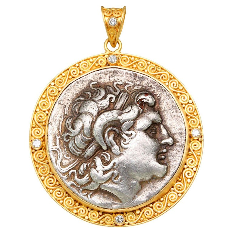 Ancient Greek 3rd Century BC Alexander the Great Coin Diamonds 22K Gold Pendant For Sale
