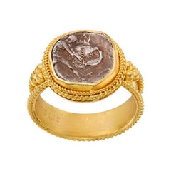Ancient Greek 3rd Century BC Hercules Lion Coin 22K Gold Ring