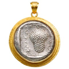 Ancient Greek 5th Century BC Grapes Coin 18K Gold Pendant
