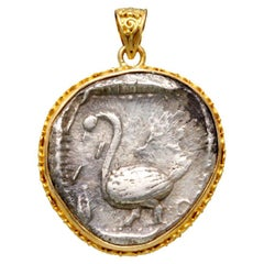 Ancient Greek 5th Century BC Swan Coin 18K Gold Pendant