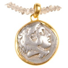 Ancient Greek Alexander the Great Silver Tetradrachm Coin in 22 kt Gold Pendant
